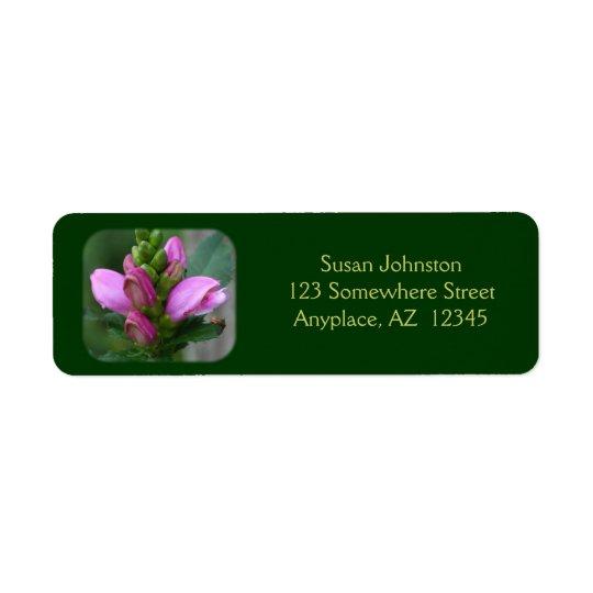 Pink Turtlehead Flower Address Label