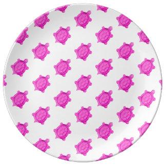 Pink Turtles Pattern Porcelain Plate