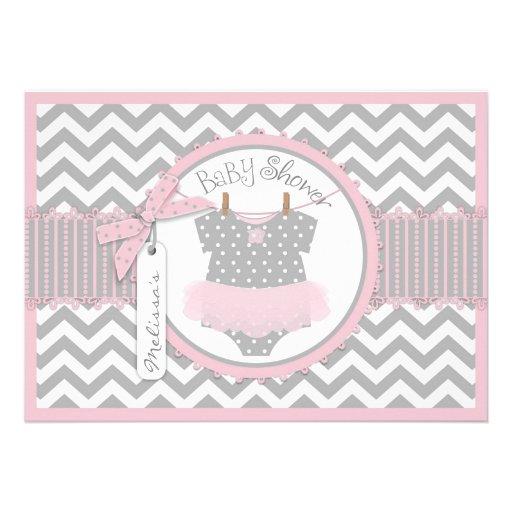 Pink Tutu and Chevron Print Baby Shower A7-PKGY Invitation
