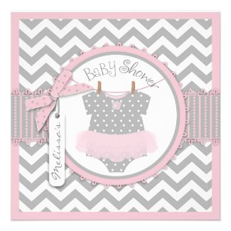 Pink Tutu and Chevron Print Baby Shower invite for Tutu / Ballerina Themed Baby Shower