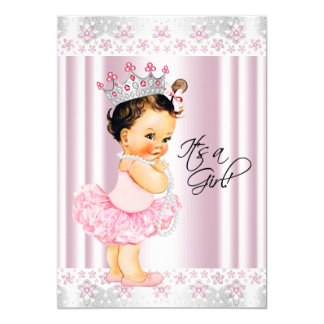 Pink Tutu Ballerina Pearl and Lace Baby Shower 5x7 Paper Invitation Card