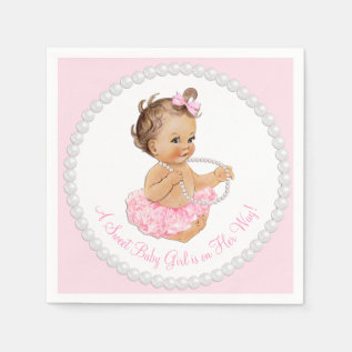 Pink Tutu Ballerina Pearl Baby Shower Paper Napkin at Zazzle
