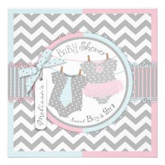 Pink Tutu Blue Tie Chevron Twin Baby Shower Custom Invitations