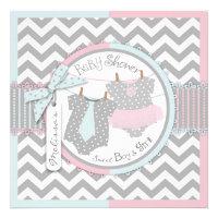 Pink Tutu & Blue Tie & Chevron Twin Baby Shower Custom Invitations