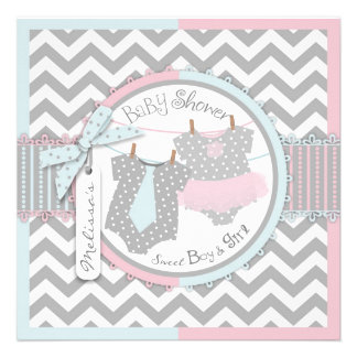 Pink Tutu Blue Tie Chevron Twin Baby Shower Custom Invitations