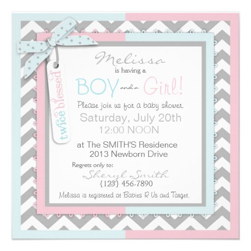 Pink Tutu & Blue Tie & Chevron Twin Baby Shower Custom Invitations (back side)