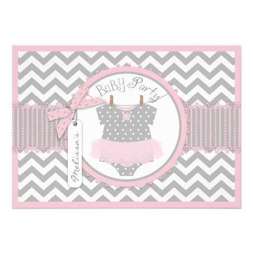 Pink Tutu & Chevron Print Baby Party Cards