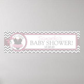 Pink Tutu Chevron Print Baby Shower Banner