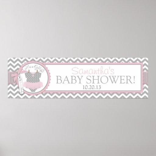 Pink Tutu & Chevron Print Baby Shower Banner