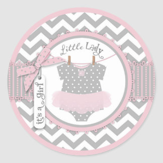 Pink Tutu & Chevron Print Baby Shower Classic Round Sticker