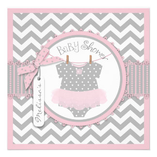 Pink Tutu Chevron Print Baby Shower Custom Invites