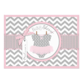 Pink Tutu & Chevron Print Baby Shower Invitation