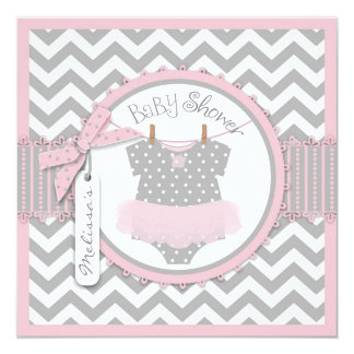 Pink Tutu & Chevron Print Baby Shower Personalized Announcement