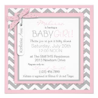 Pink Tutu Chevron Print Baby Shower Invitation