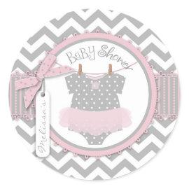 Pink Tutu & Chevron Print Baby Shower Round Stickers