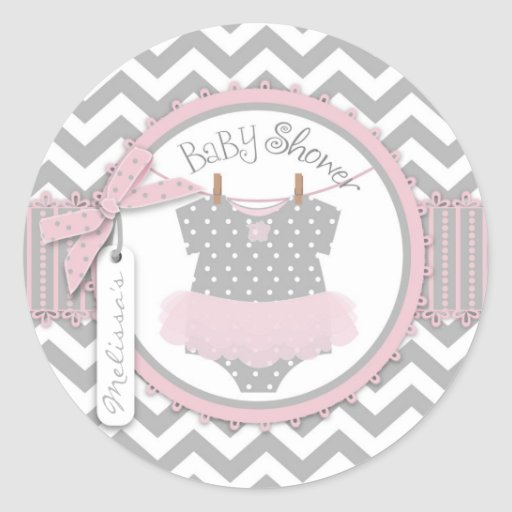 Pink Tutu & Chevron Print Baby Shower Round Stickers