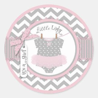 Pink Tutu & Chevron Print Baby Shower Sticker