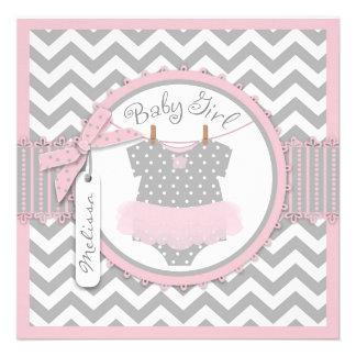 Pink Tutu Chevron Print Birth Announcement