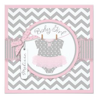 Pink Tutu & Chevron Print Birth Announcement