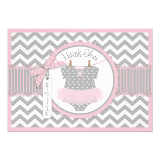 Pink Tutu Chevron Print Thank You Card