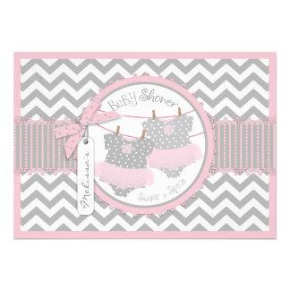 Pink Tutu Chevron Print Twin Girls Baby Shower Custom Announcements