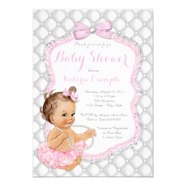 Pink Tutu Pearl Baby Shower Card