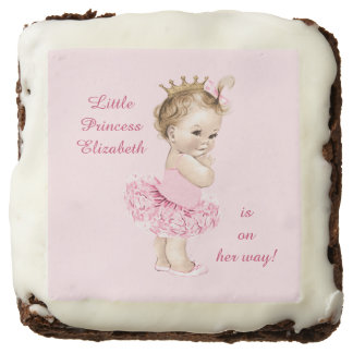 Pink Tutu Personalized Baby Shower Chocolate Brownie