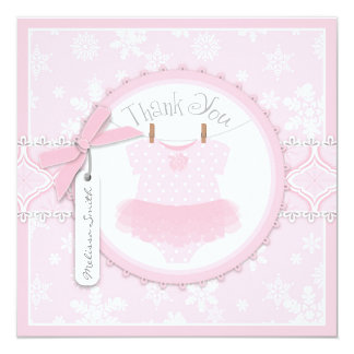 Pink Tutu & Snowflakes Thank You Card Personalized Invitation