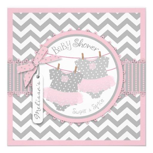 Pink Tutus & Chevron Print Baby Shower Personalized Invitations