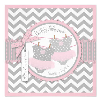 Pink Tutus Chevron Print Twin Girls Baby Shower Personalized Invitations