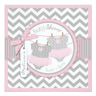 Pink Tutus & Chevron Print Twin Girls Baby Shower Personalized Invitations