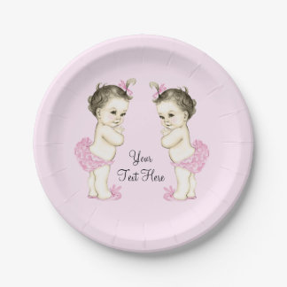 Pink Twin Baby Girl 7 Inch Paper Plate