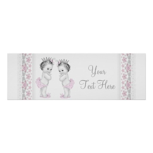 Pink Twin Baby Girl Shower Baner Poster