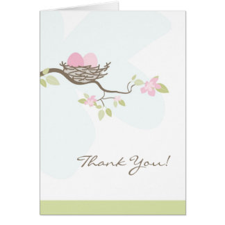 Pink Twin Eggs in Nest Thank You Card