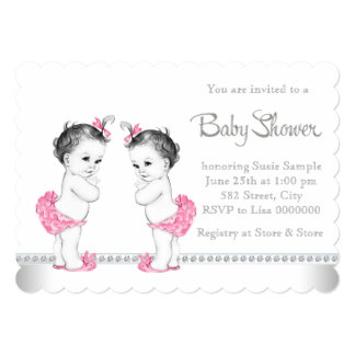 pink twin girl baby shower card