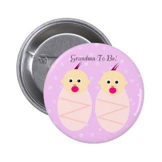 Pink Twin Girls Grandmother Button