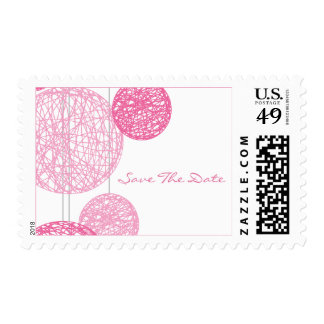 Pink Twine Globes Save The Date Postage Stamp
