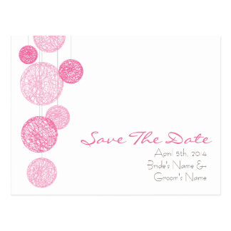Pink Twine Globes Wedding Save The Date Postcard