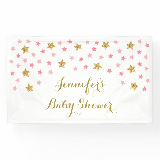 Pink Twinkle Star Baby Shower Banner