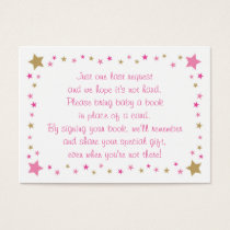Pink Twinkle Star Baby Shower Book Request Cards