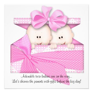 Pink Twins Baby Shower Invitation or Announcement