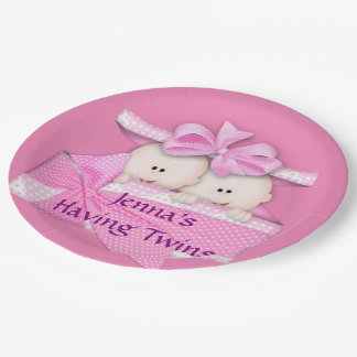 Pink Twins Baby Shower Party Paper Plates 9 Inch Paper Plate