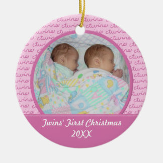 Pink Twins First Christma Ornament