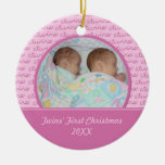 Pink Twins First Christmas Photo Ornament