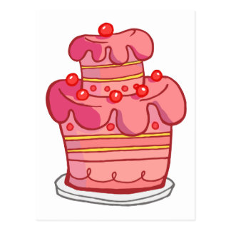 Pink Two Tiered Cake Postcard