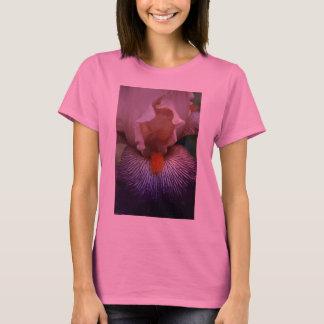 Pink Two Tone Iris on Pink Long Sleeve Ladies T-Shirt