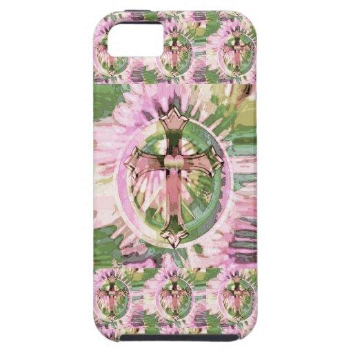 Pink tye dye cross with flowers pattern iphone se 5 5s for Tye dye flowers
