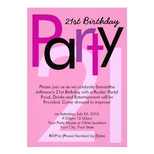 Pink Type 21st Birthday Party Invitation