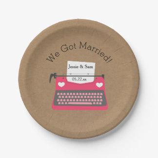 Pink Typewriter Customized Wedding Paper Plates