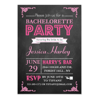 Pink Typography Chalkboard Bachelorette Party 5x7 Paper Invitation Card